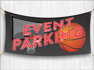 (Pre-Designed) Event Parking Banner - Basketball