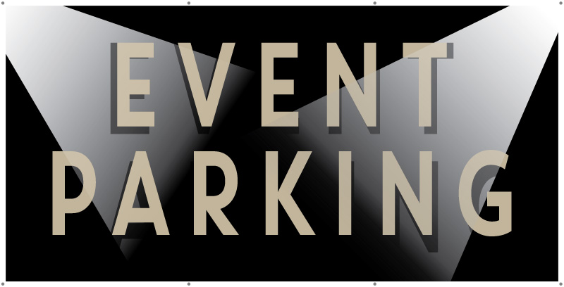 event parking banner with spotlights